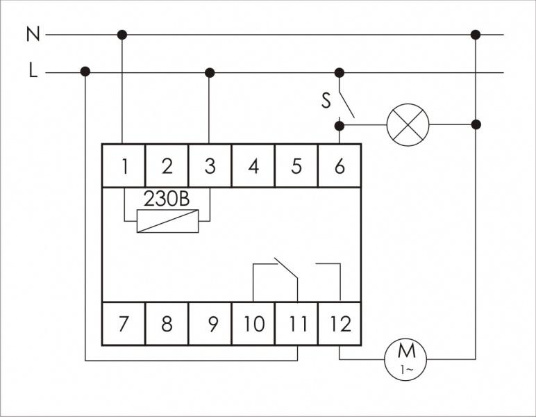 Схема подключения реле времени для системы вентиляции PO-415